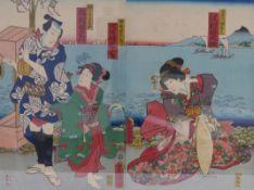 Utagawa Kunisada (Toyokuni III.)Diptychon mit Kabukiszene am Meeresufer(Katsushika 1786-1865 Edo)