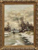 Jungblut, JohannWinterlandschaft mit Heimkehrern auf vereistem Flusslauf(Saarburg 1860-1912