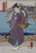 Utagawa Kunisada (Toyokuni III.)Samurai am Hafen(Katsushika 1786-1865 Edo) Farbholzschnitt. Signatur