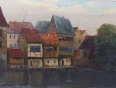Knobloch, Josef RolfFischerhäuser in Bamberg(Böhmisch-Kamnitz 1891-1964 München) Öl/Lwd. Links unten
