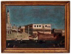 Blick auf den Markusplatz in Venedig mit dem an der Mole angelegtem Bucintoro