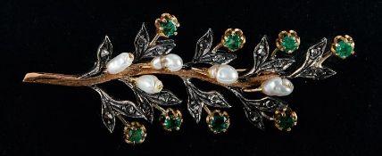 Smaragd-Perl-Diamantbrosche