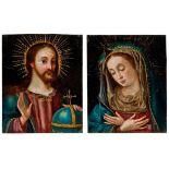 Pendants mit Christus als Salvator Mundi und der Muttergottes in Andacht