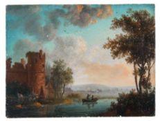 Kleine Flusslandschaft mit Ruine