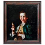 Bildnis eines jungen Mannes mit Singvogel an der Leine