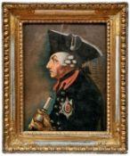 Friedrich II. im Profil und mit Fernrohr