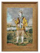 Mogulmalerei eines Rajput Prinzen in Landschaft
