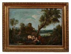 Landschaft mit Wäscherin und Hirte