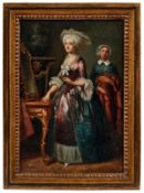 Interieur mit elegant gekleideter Dame vor dem Spiegel