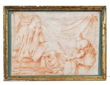Fußwaschung einer Römerin durch ihre Dienerin