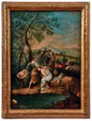 An einem Flussufer mit badenden Frauen vorbeiziehende Hirten