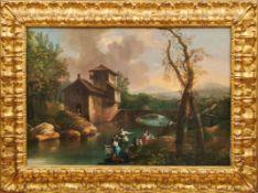 Südliche Landschaft mit Wäscherinnen am Fluss