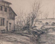 Landschaft mit Haus an einem Bachlauf und Brücke