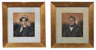 Biedermeier-Portraitpendants des Ehepaares Bosdorf