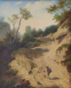 Bergige Landschaft mit Hirten und ihren Tieren auf einem Weg
