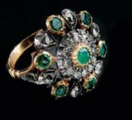Smaragd-Diamant-Ring