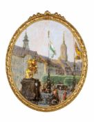 Gotthardt Kuehl, Blick auf den Dresdner Neumarkt mit Goldenem Reiter und Dreikönigskirche. Um 1908.