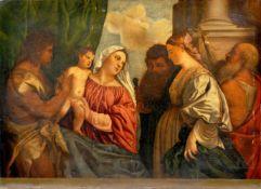 Fritz Horn (Kopie nach Tiziano Vecellio), Maria mit dem Kind und vier Heiligen. Um 1925.