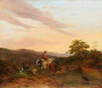 Jacobus Pelgrom, Abendliche Landschaft mit einem Hirten. Wohl 1844.
