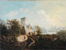 Johann Gottfried Döpel (zugeschr.), Gebirgslandschaft mit Burgruine und Reiter. 1885.<