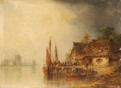 Ludwig Hermann, Niederländisches Dorf am Wasser. Wohl um 1870/ 1880.<