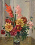Carl Adolf Korthaus, Stillleben mit Dahlien und Gladiolen. 1939.
