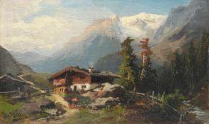 Unbekannter Maler, Alpenlandschaft mit Bauernhaus. Wohl spätes 19th cent.<