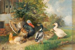 Julius Scheuerer, Truthahn und Enten. 2nd half 19th cent.