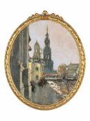 Gotthardt Kuehl, Dresden – Brühlsche Terrasse mit Hofkirche und Hausmannsturm. Um 1910.<b