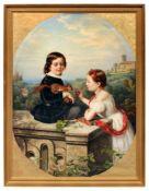 Louise Henriette von Martens, Geschwisterpaar, mit einem zahmen Eichhörnchen spielend. 1860.