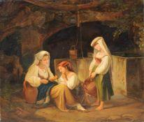 S. Mönckeberg (Nazarener / Deutsch-Italiener), Drei Italienerinnen mit Wasserkrügen beim