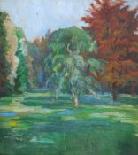 Emil van Hauth (zugeschr.), Sommerliche Parklandschaft. 1915.