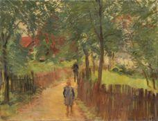 Erich Gruner, Dorfweg unter Bäumen. 1908.<