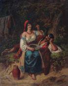 Gustav Bartsch, Liebespaar vor einer bewaldeten Landschaft. Mid 19th cent.