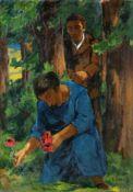 """Erich Fraaß """"Paar im Wald"""" (Doppelbildnis des Künstlers mit seiner Frau). Um 1923.<b"""