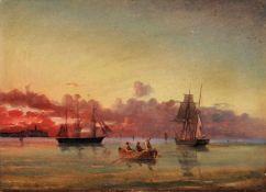 Carl Julius Emil Olsen (zugeschr.), Ruhige See im Abendlicht. Wohl 1861.