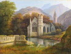 Alois Gustav Schulz, Gotische Kirchenruine im Hochgebirge. 1855.