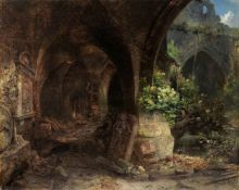 Ernst Erwin Oehme, Blick in einen Kreuzgang mit dem Epitaph für Johannes von Schleinitz aus St. Afra