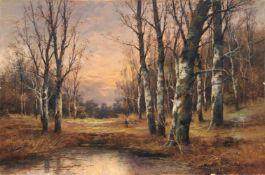 Karl Kaufmann (B. Lambert), Reisigsammler im Wald (Landschaft bei Barbizon?). Late 19th cent.Karl
