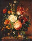Johann Joseph Reiner, Blumenstillleben mit Schnecke und Schmetterlingen. Mitte 19th cent.