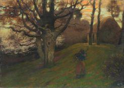 """Thomas Corsan Morton """"Am Abend (Frau mit Holzbündel)"""". 1897.<"""