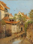 Vittorio Antonio Cargnel, Ansicht einer italienischen Dorfstraße. Wohl Early 20th cent.<