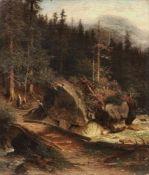 Friedrich Wilhelm von Winterfeldt, Gebirgsbach zwischen Felsen mit Holzbrücke. Um 1875.<