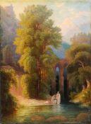 Paul Borgmann, Arkadische Landschaft mit badenden Mädchen. 1874.<