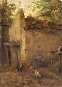 Carl Jutz d.Ä., Hühner vor einem Stall. 1877.<b