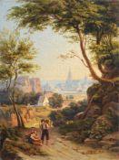 Robert Reinick, Zwei Holzsammler vor einer Stadt. 1843.