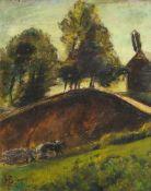 Siegfried Berndt, Oberlausitzer Landschaft mit Acker und Pferdefuhrwerk. Nach 1920.