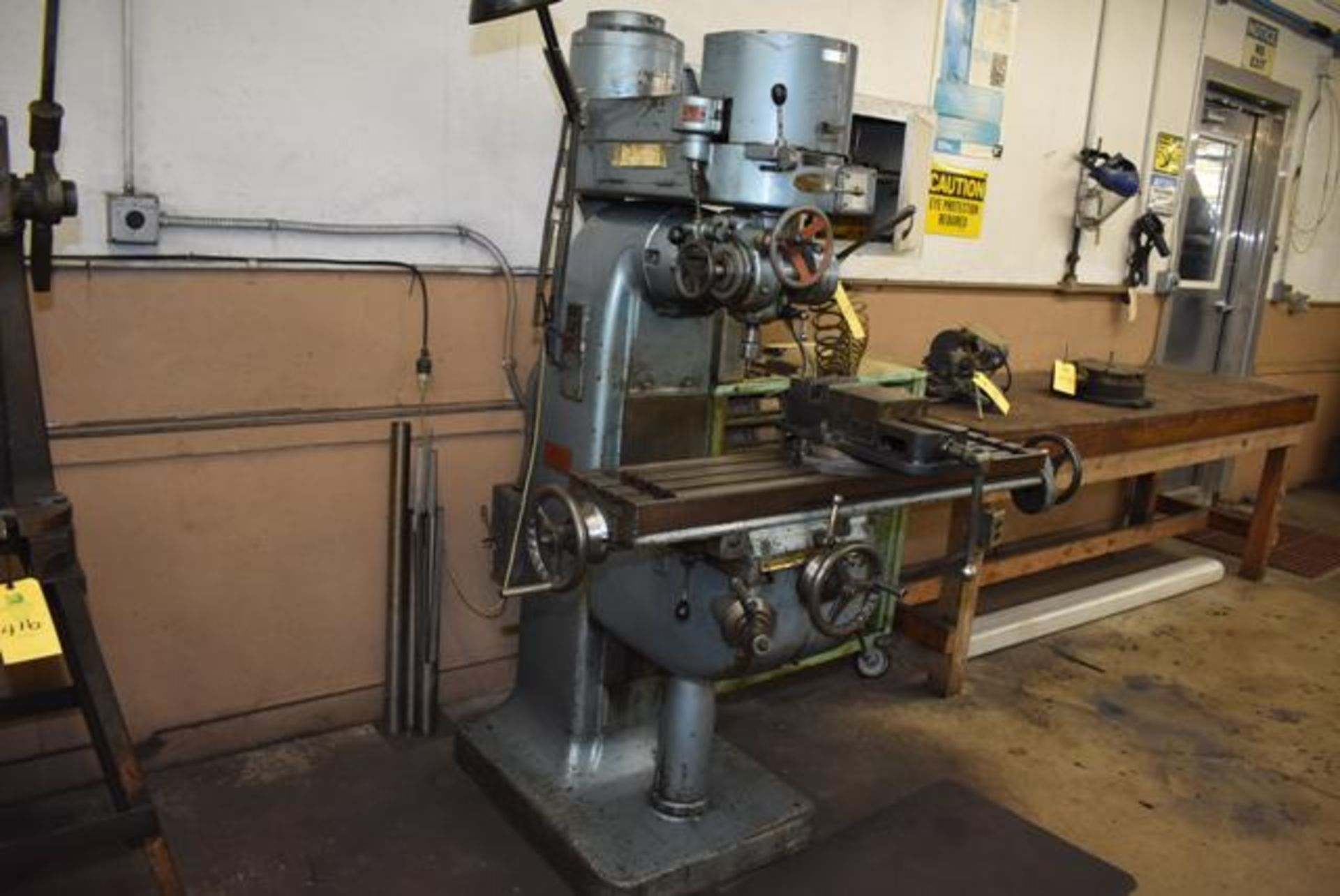 "Lot 417 - Index Model #55 Vertical Milling Machine, 9"" x 46"" Table, Machine Vise, SN 55-8209, Cabinet w/"