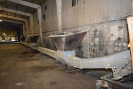 "GSI Motorized Drag Conveyor, 80' Length x 12"" Wide, Includes 3 Hoppers. LOADING FEE: $1500"