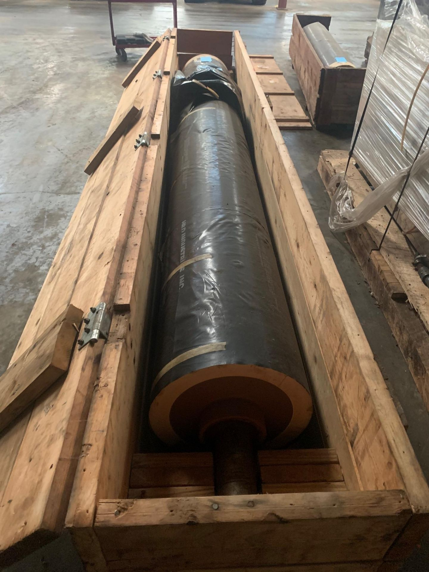 "Lot 21138 - Nip Roll 72""Face x 12"" Diameter and 4"" shaft (New Rubber), Rigging Fee: $50"